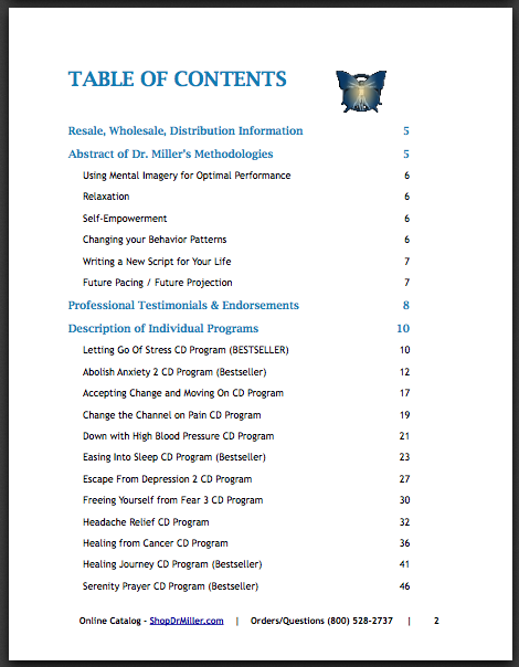 Contents of Professional Manual Pg 1