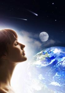 Woman meditating on world peace